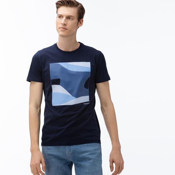 Lacoste Erkek Bisiklet Yaka Desenli Lacivert T-Shirt