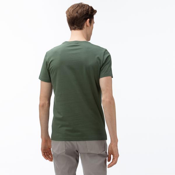 Lacoste Erkek Bisiklet Yaka Desenli Haki T-Shirt