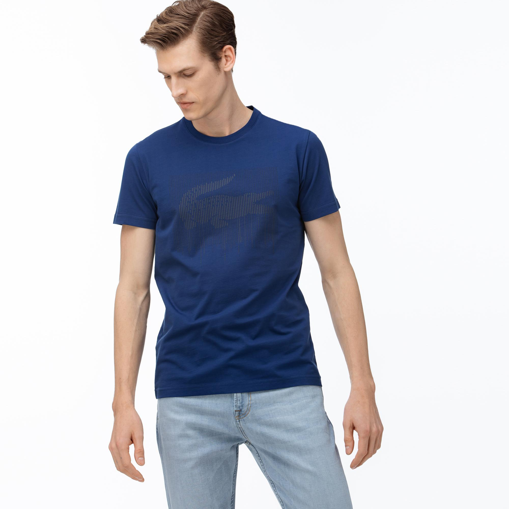 Lacoste Erkek Bisiklet Yaka Timsah Baskılı Saks Mavi T-Shirt