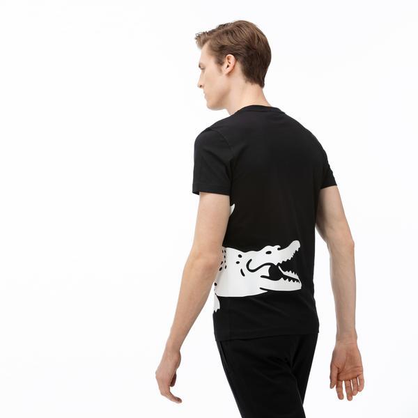Lacoste Erkek Bisiklet Yaka Timsah  Baskılı Siyah T-Shirt