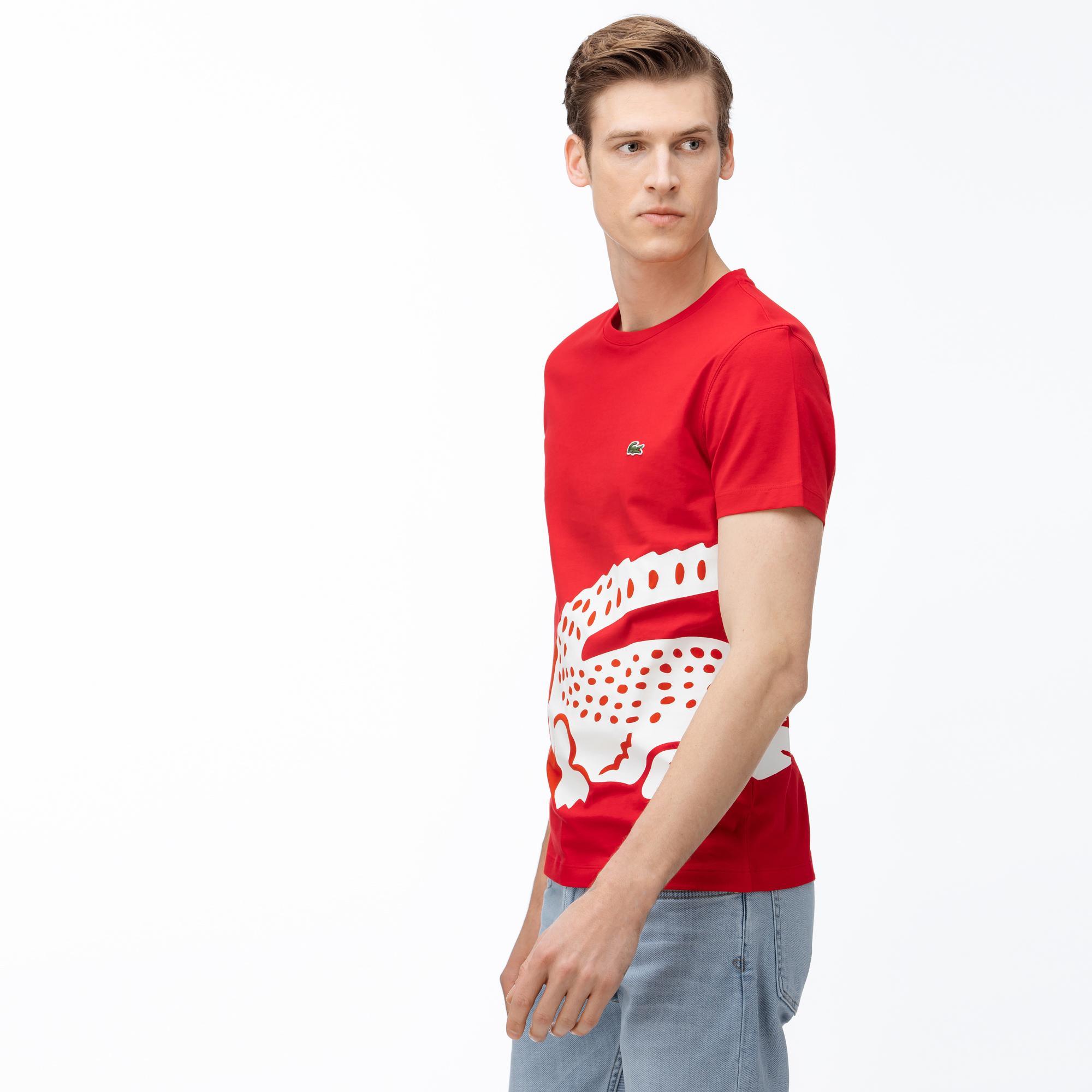 Lacoste Erkek Bisiklet Yaka Timsah Baskılı Kırmızı T-Shirt