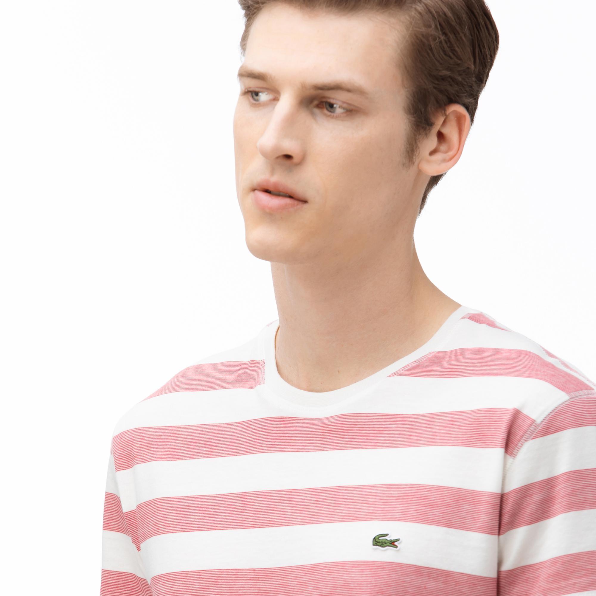 Lacoste Erkek Regular Fit Çizgili Kırmızı-Beyaz T-Shirt