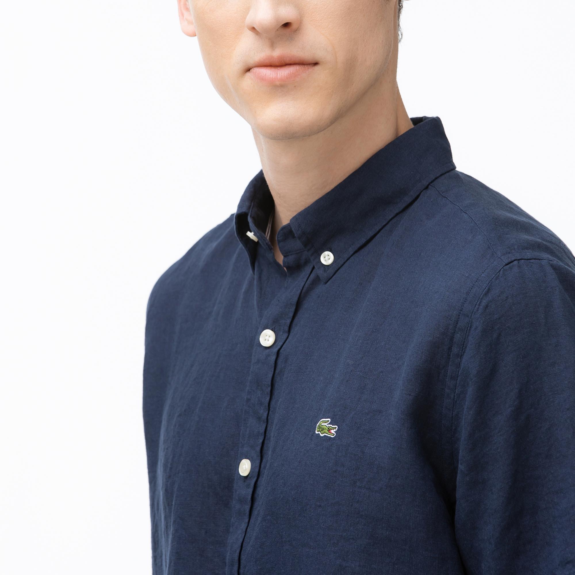 Lacoste Erkek Regular Fit Kısa Kollu Lacivert Gömlek