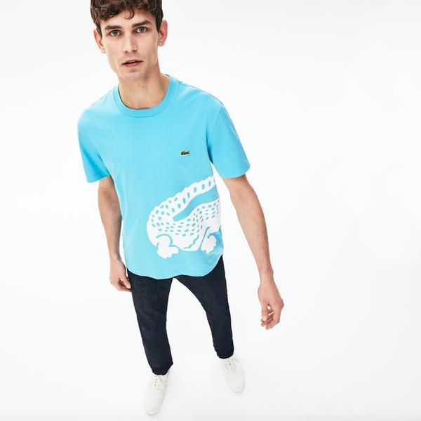 Lacoste Erkek Bisiklet Yaka Timsah Baskılı Mavi T-Shirt