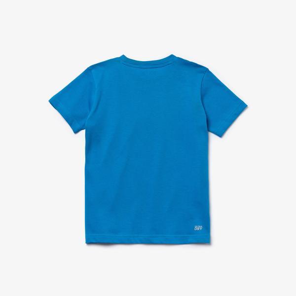 Lacoste Sport Çocuk Bisiklet Yaka Timsah Baskılı Mavi T-Shirt