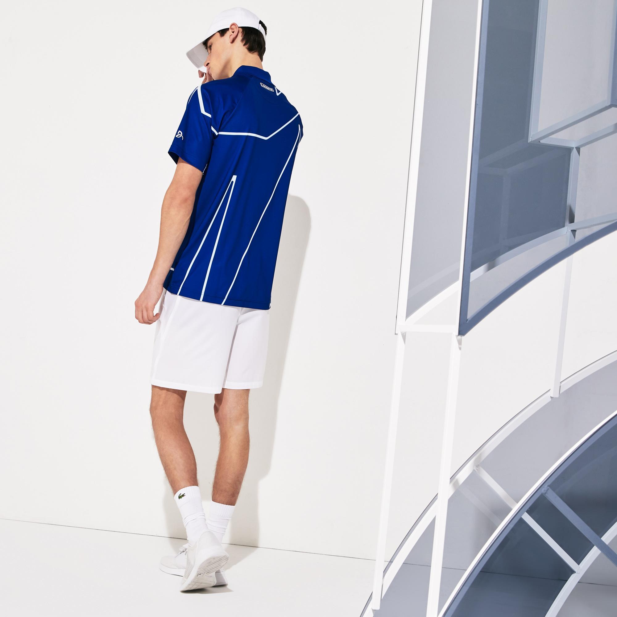 Lacoste Sport Erkek Desenli Saks Mavi - Beyaz Polo