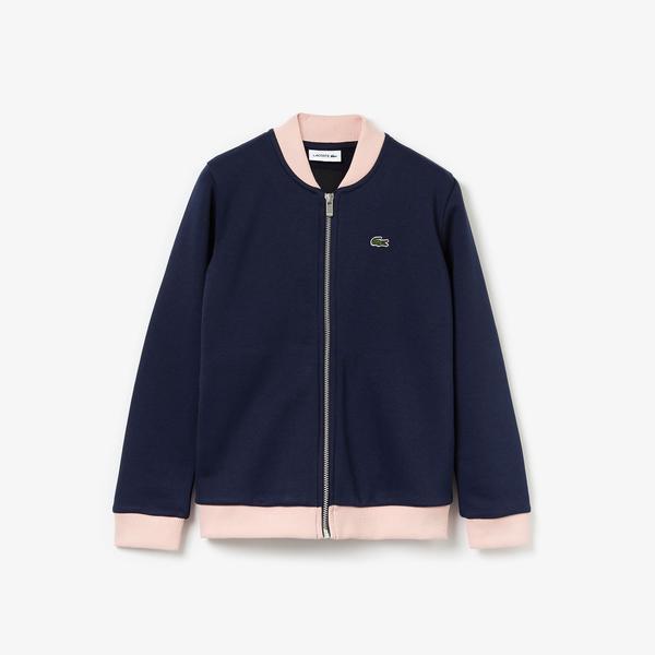 Lacoste Çocuk Fermuarlı Nakışlı Lacivert Sweatshirt