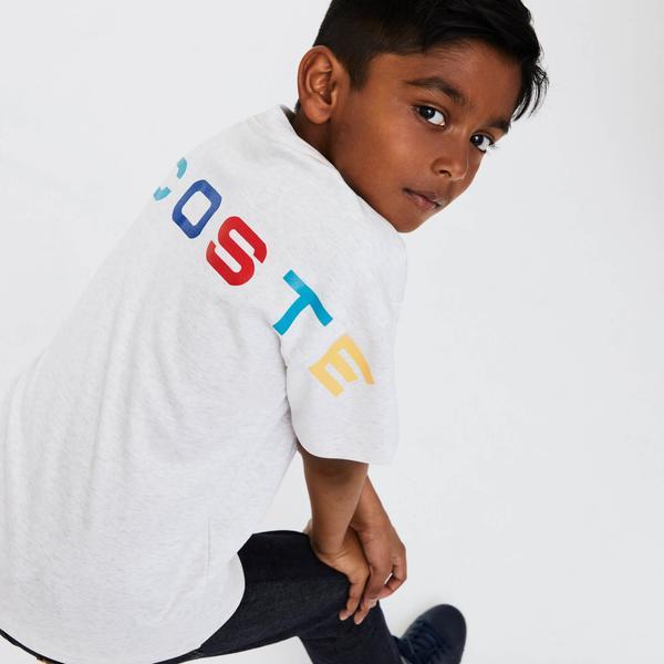 Lacoste Çocuk Bisiklet Yaka Baskılı Gri T-Shirt