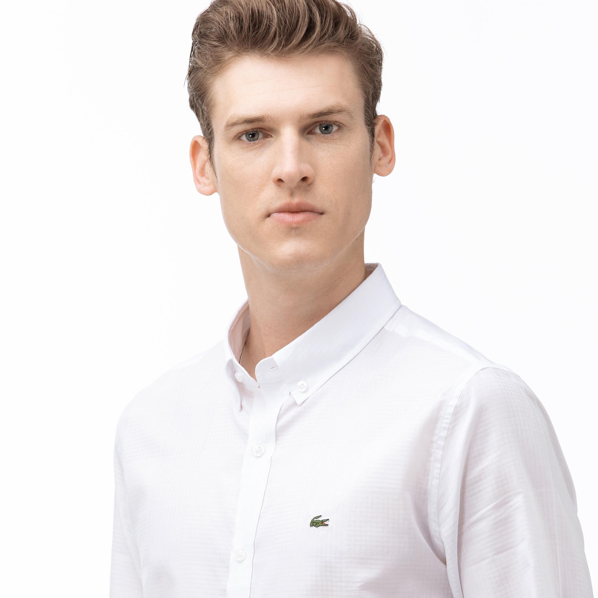 Lacoste Erkek Slim Fit Düğmeli Yaka Ekose Desenli Beyaz Gömlek