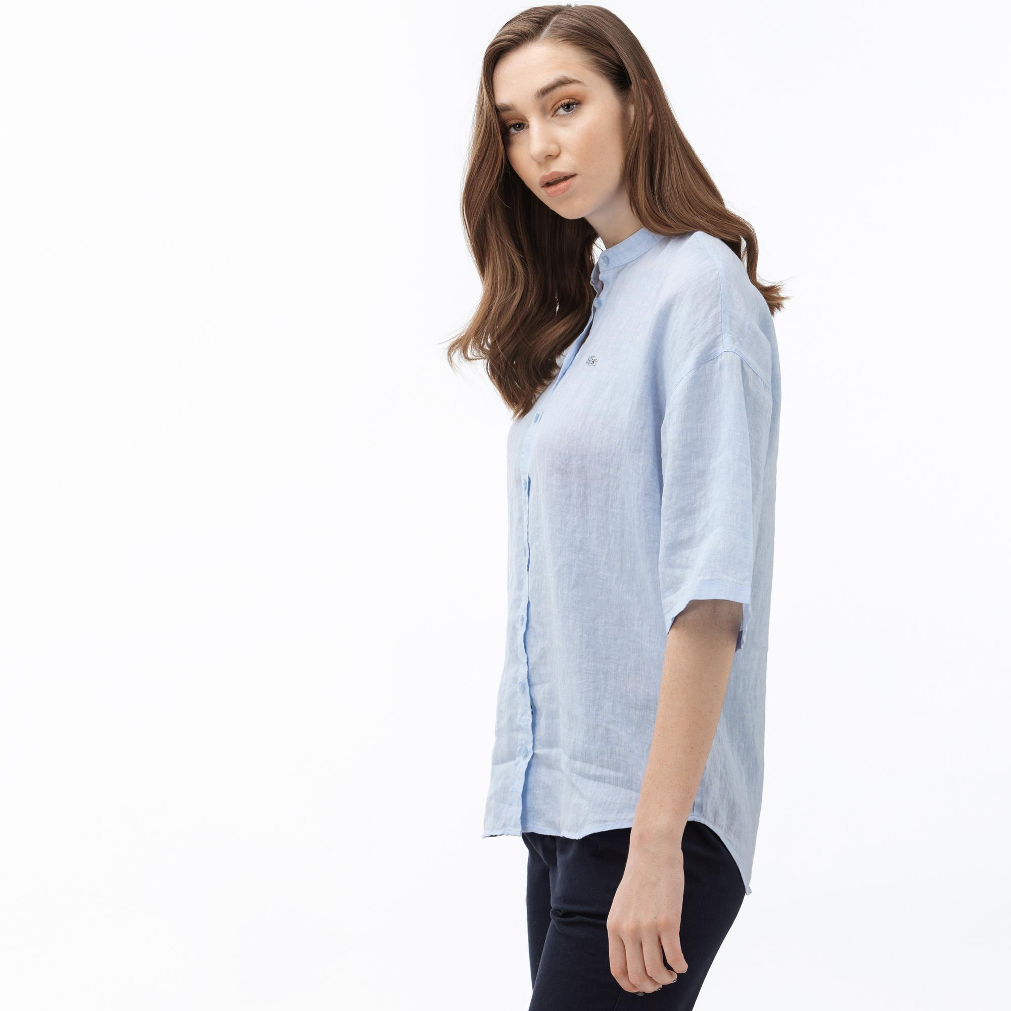 Lacoste Kadın Hakim Yaka Kısa Kollu Açık Mavi Keten Gömlek