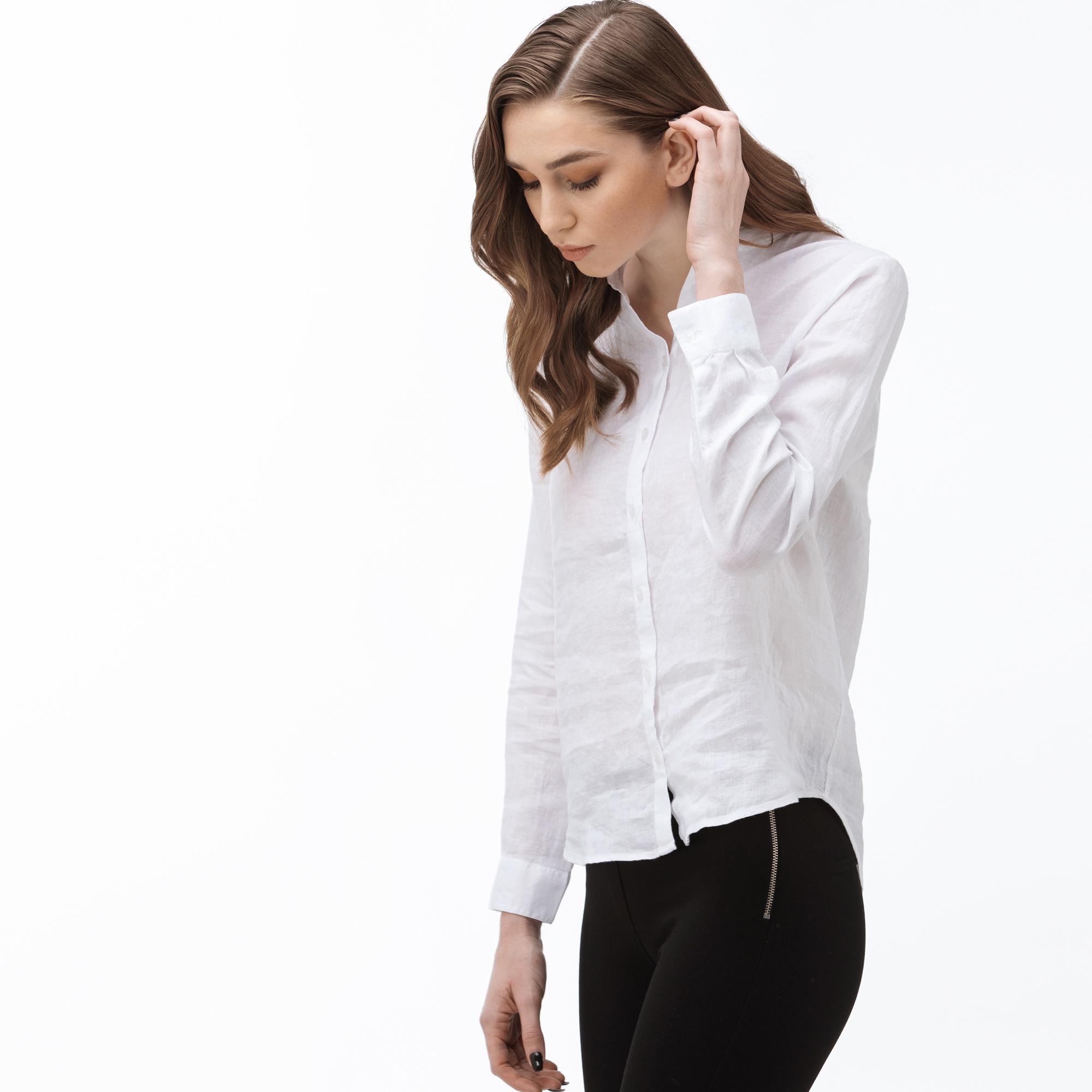 Lacoste Kadın Hakim Yaka Beyaz Keten Gömlek