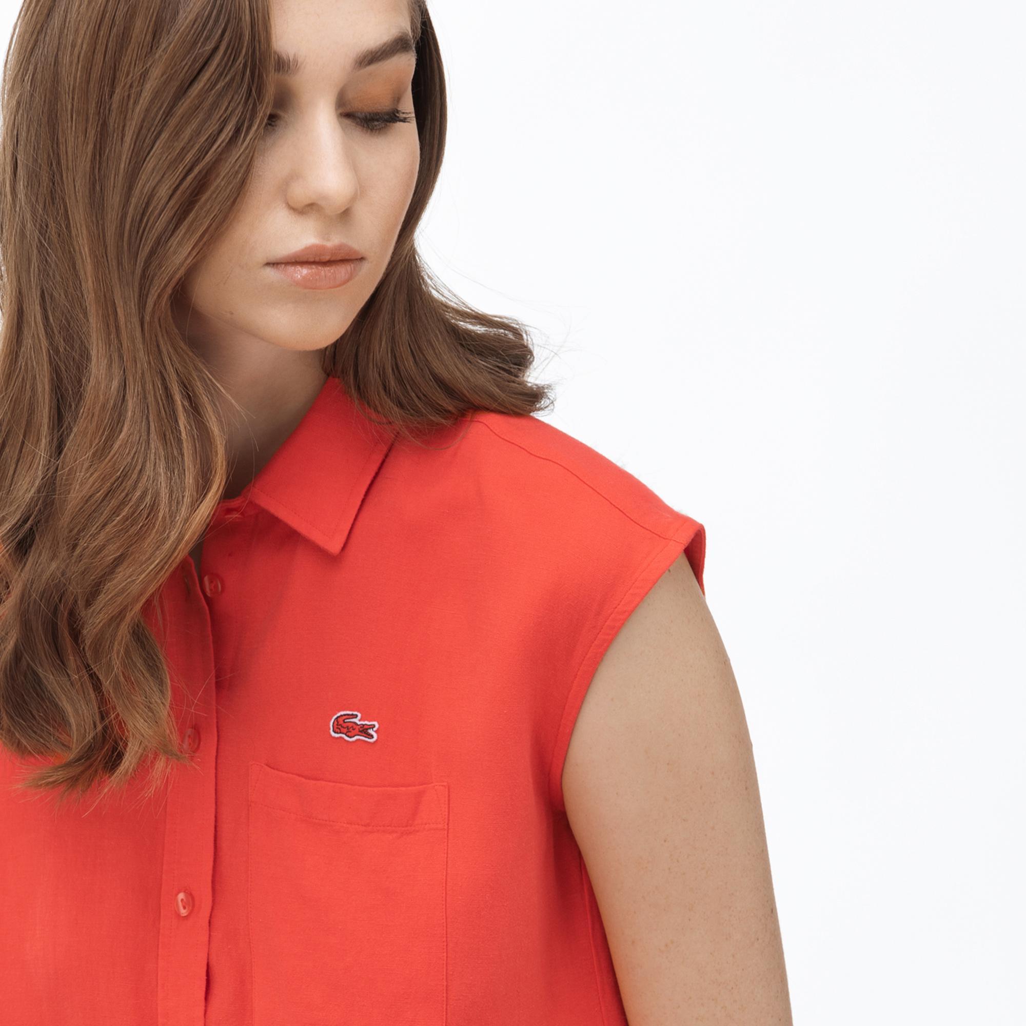 Lacoste Kadın Kolsuz Turuncu Gömlek