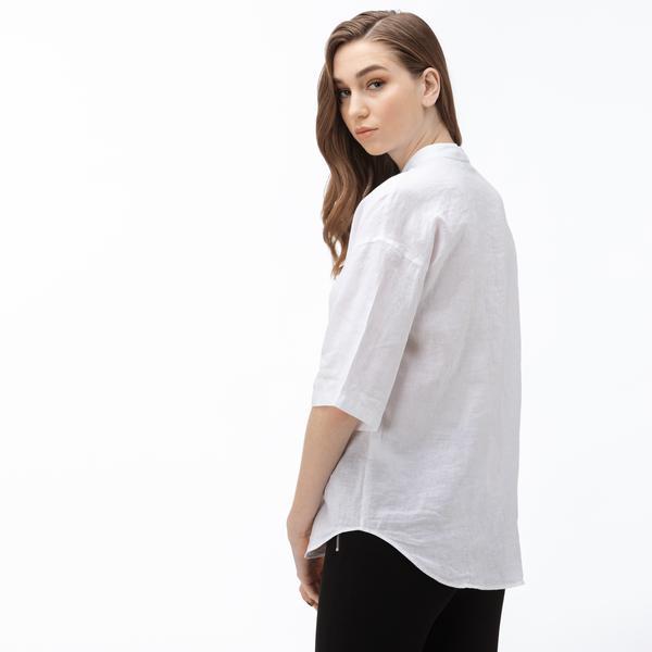 Lacoste Kadın Hakim Yaka Kısa Kollu Beyaz Keten Gömlek