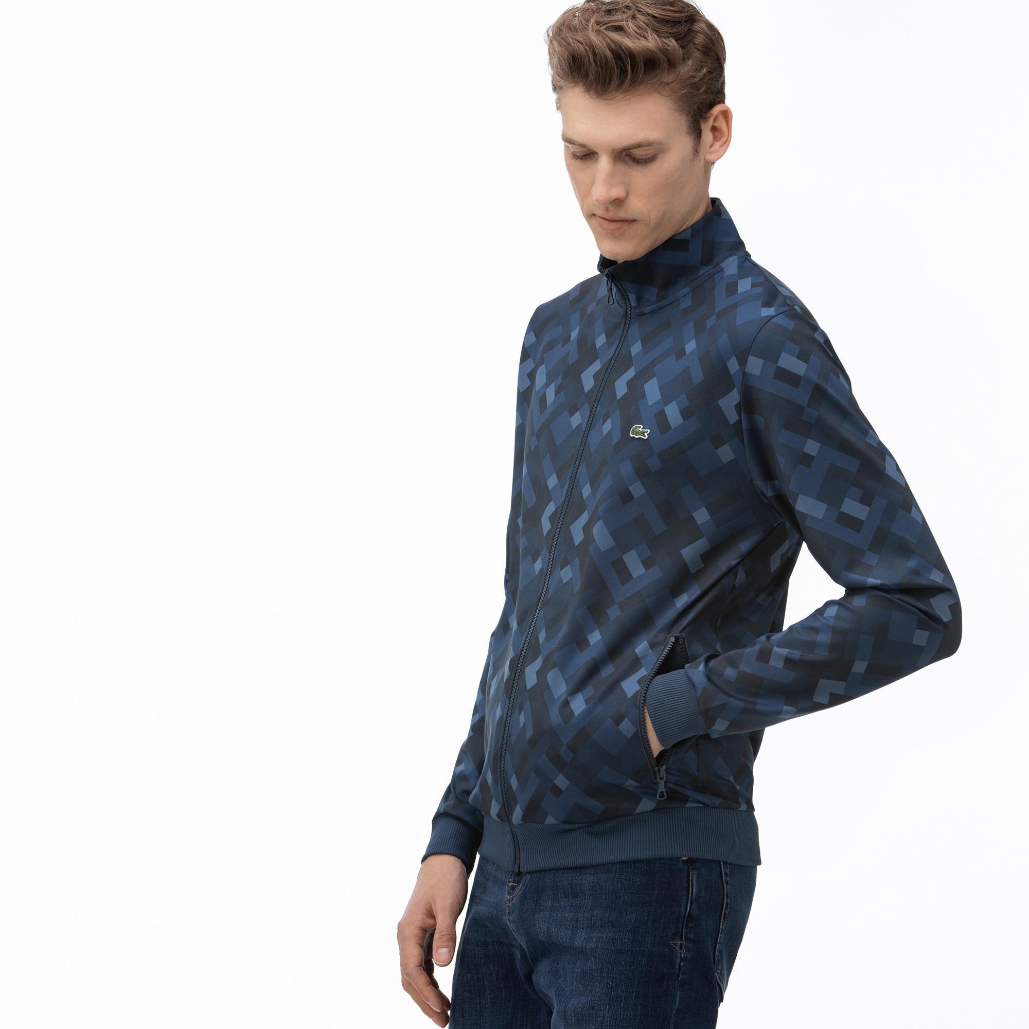 Lacoste Erkek Fermuarlı Desenli Lacivert Sweatshirt