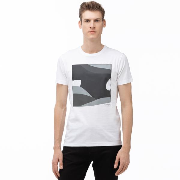 Lacoste Erkek Bisiklet Yaka Desenli Beyaz T-Shirt