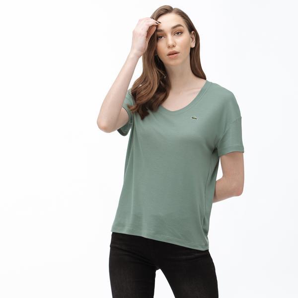 Lacoste Kadın Kayık Yaka Haki T-Shirt