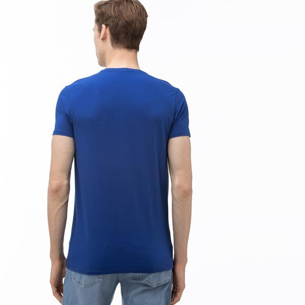 Lacoste Erkek Bisiklet Yaka Saks Mavi T-Shirt
