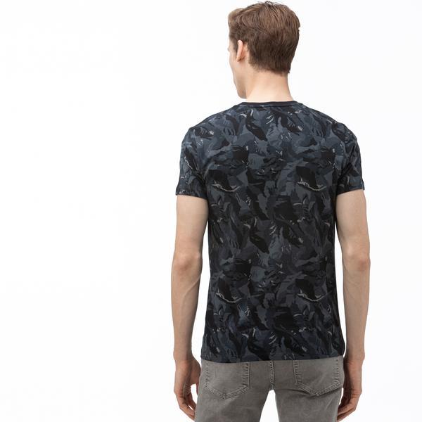 Lacoste Erkek V Yaka Desenli Siyah T-Shirt