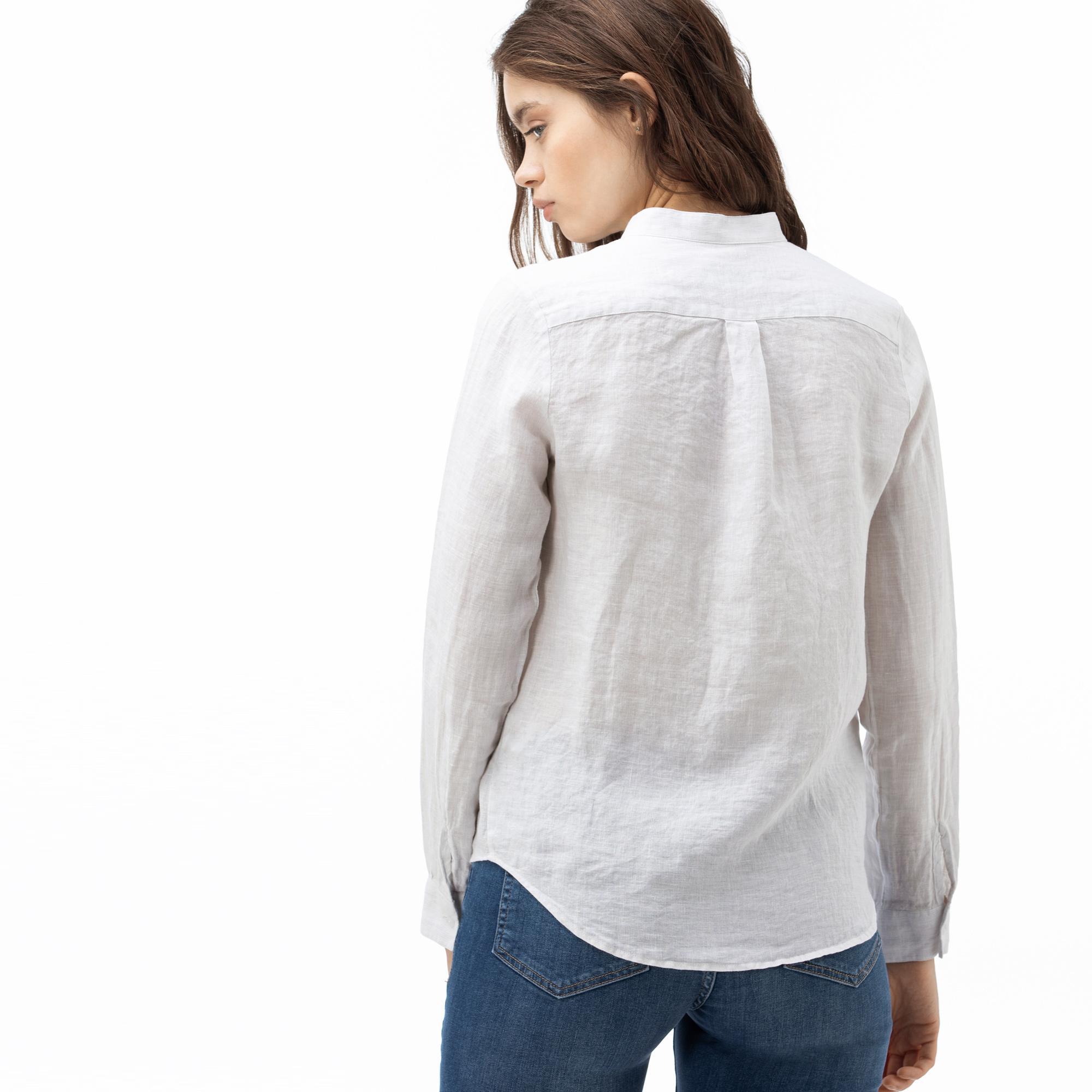 Lacoste Kadın Hakim Yaka Açık Mavi Keten Gömlek
