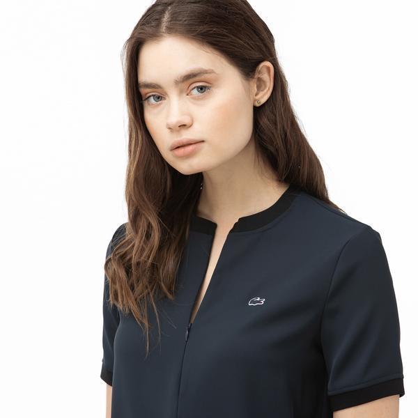 Lacoste Kadın Fermuarlı Yaka Lacivert Bluz