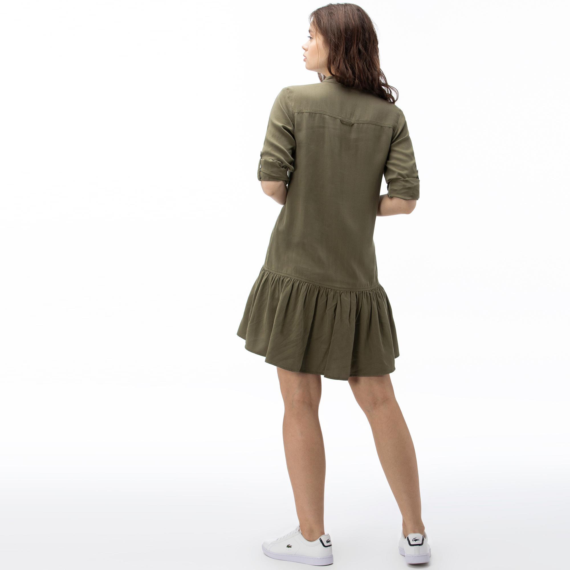 Lacoste Kadın Uzun Kollu Haki Elbise