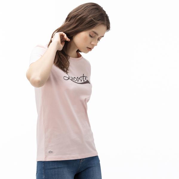 Lacoste Kadın Kayık Yaka Baskılı Açık Pembe T-Shirt