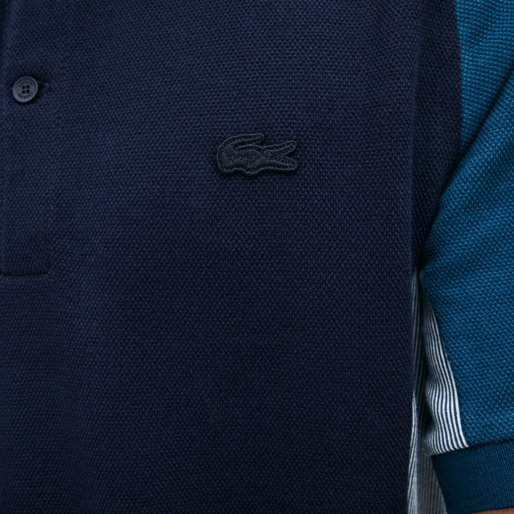 Lacoste Erkek Regular Fit Blok Desenli Mavi Polo