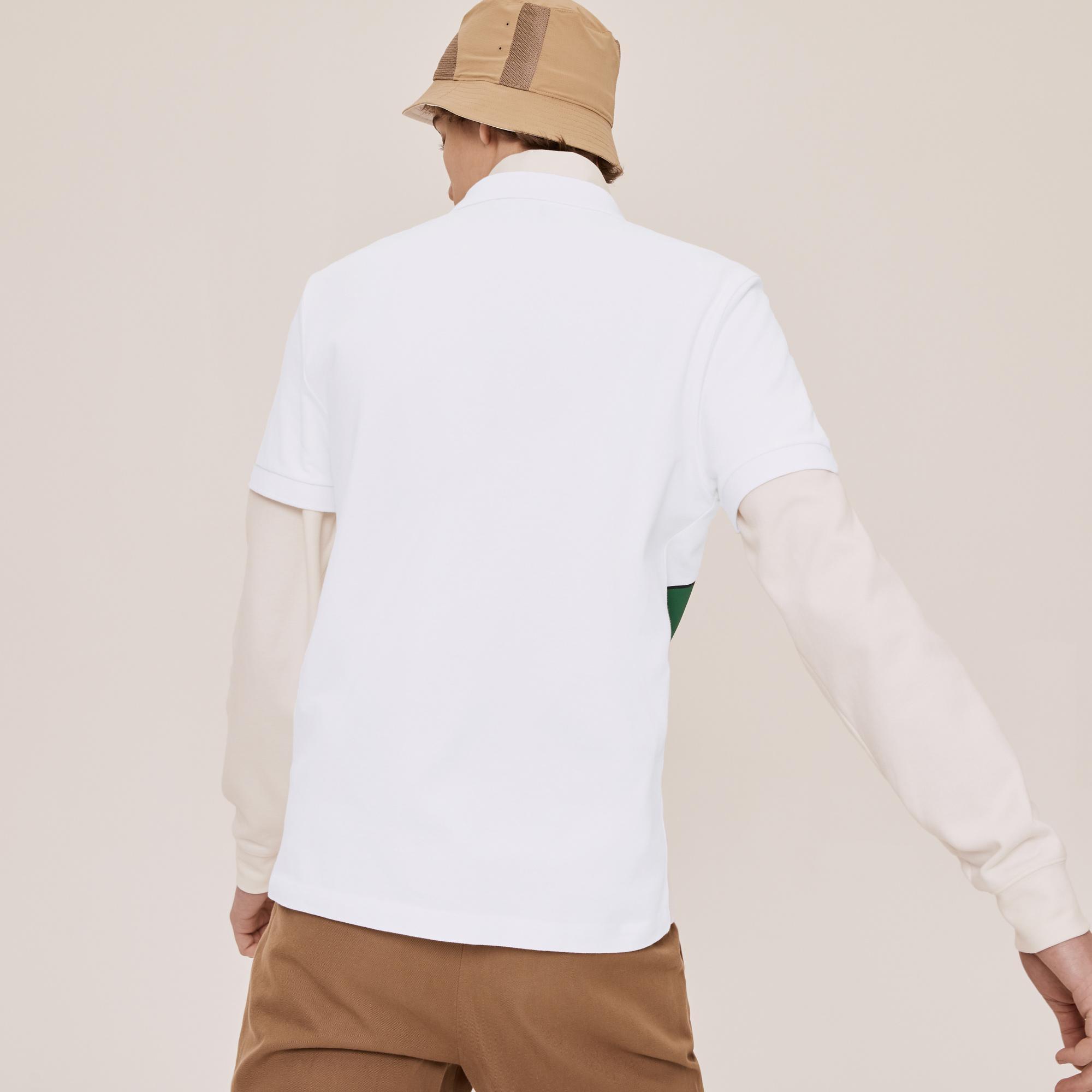 Lacoste X Jean-Michel Tixier Unisex Baskılı Beyaz Polo