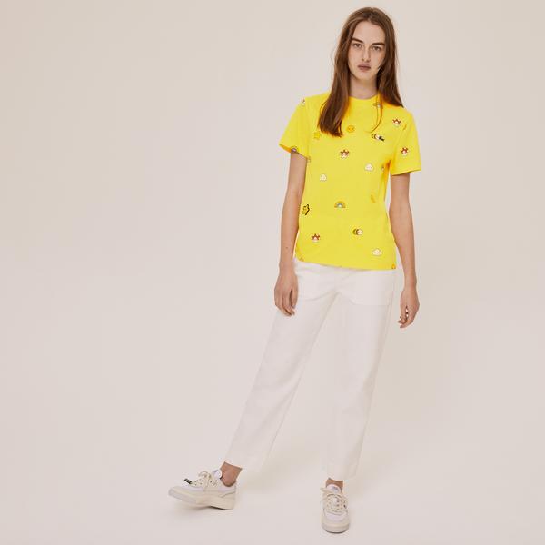 Lacoste X FriendsWithYou Unisex Bisiklet Yaka Baskılı Sarı T-Shirt