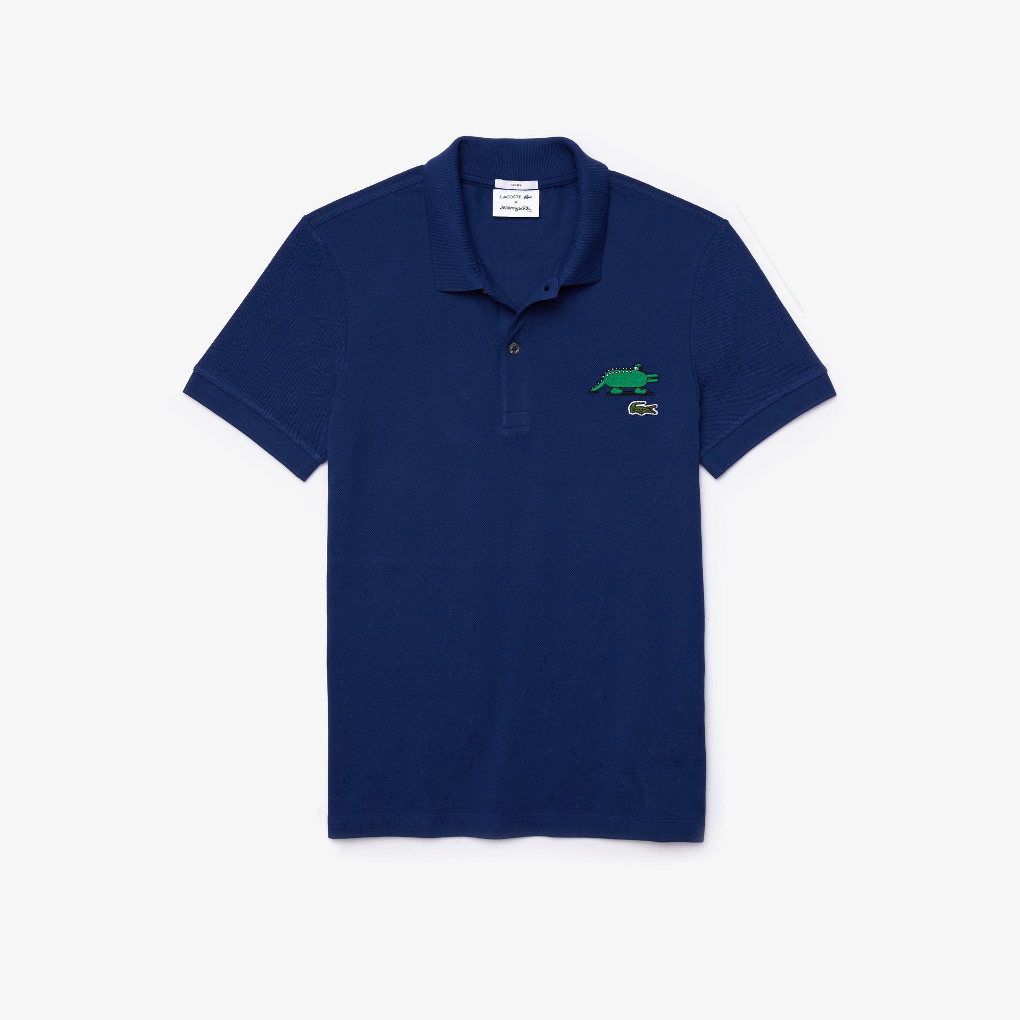 Lacoste X Jeremyville Unisex Baskılı Saks Mavi Polo
