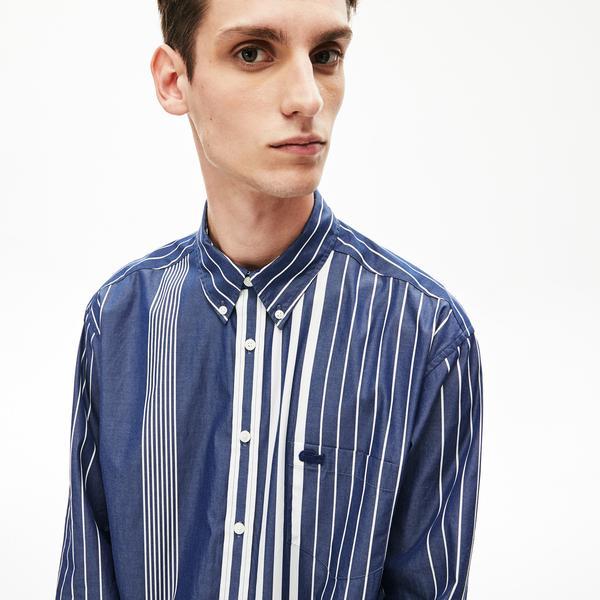Lacoste Erkek Relax Fit Düğmeli Yaka Çizgili Lacivert Gömlek