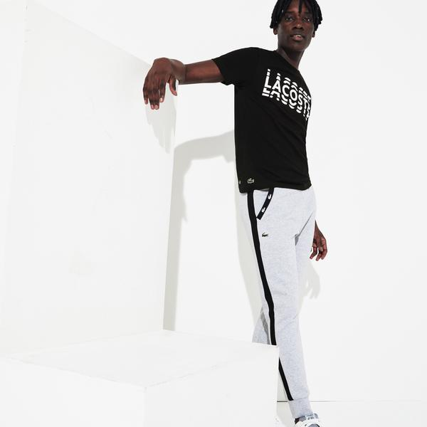 Lacoste Sport Erkek Bisiklet Yaka Baskılı Siyah T-Shirt