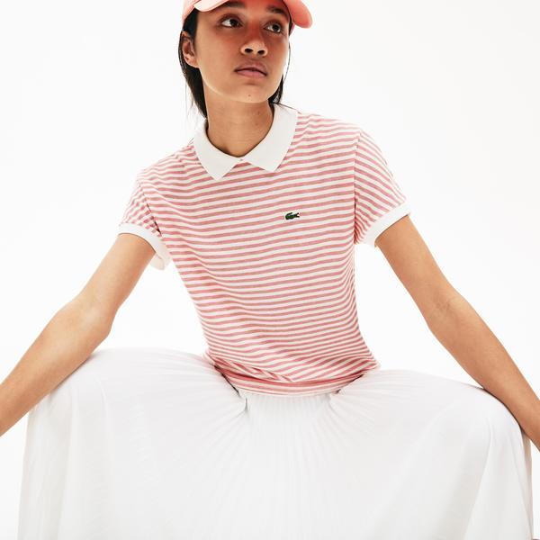 Lacoste Kadın Klasik Fit Bebe Yaka Çizgili Kırmızı - Beyaz Polo