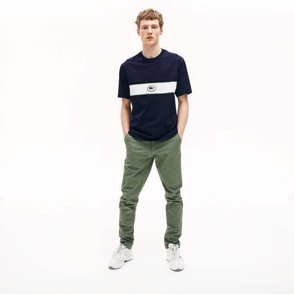 Lacoste Erkek Bisiklet Yaka Blok Desenli Lacivert T-Shirt