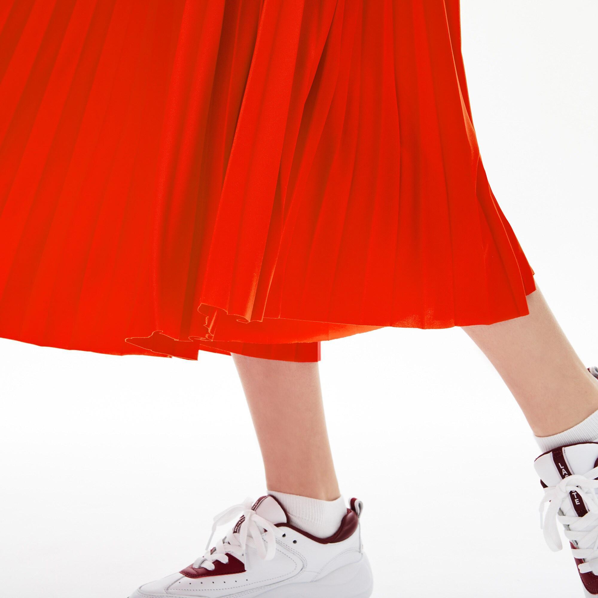 Lacoste Kadın Pileli Kırmızı Etek