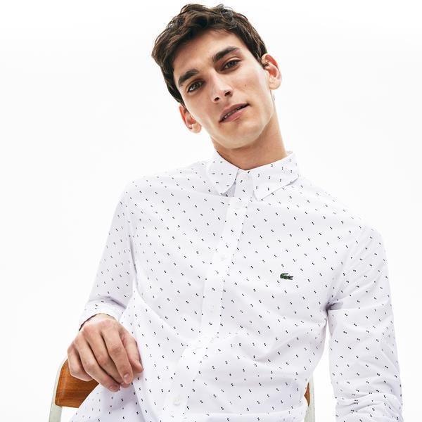 Lacoste Erkek Slim Fit Düğmeli Yaka Desenli Beyaz - Lacivert Gömlek
