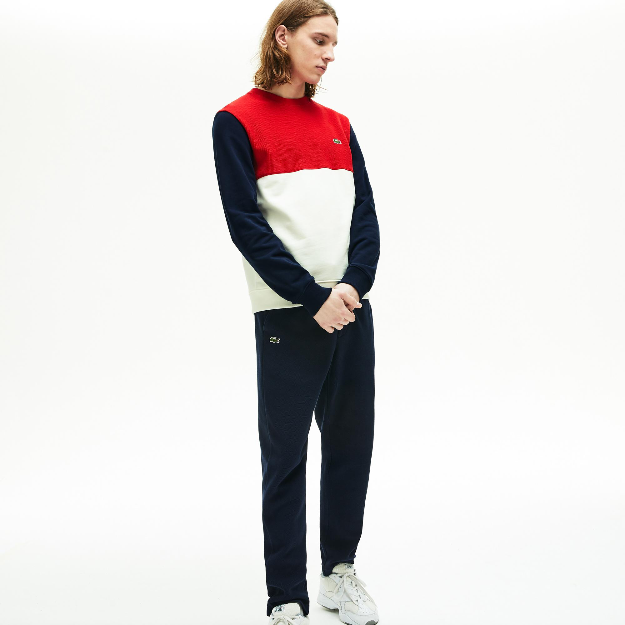 Lacoste Erkek Bisiklet Yaka Blok Desenli Renkli Sweatshirt