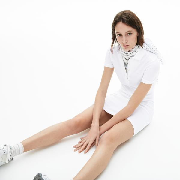 Lacoste Kadın Beyaz Polo Yaka Elbise
