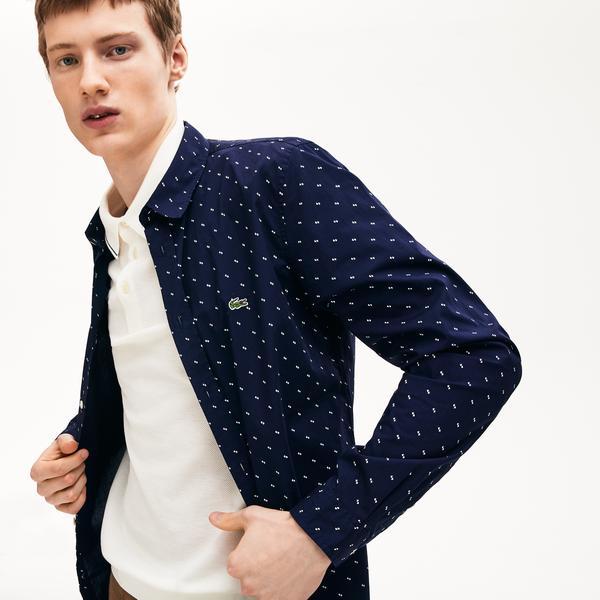 Lacoste Erkek Slim Fit Düğmeli Yaka Desenli Lacivert - Beyaz Gömlek