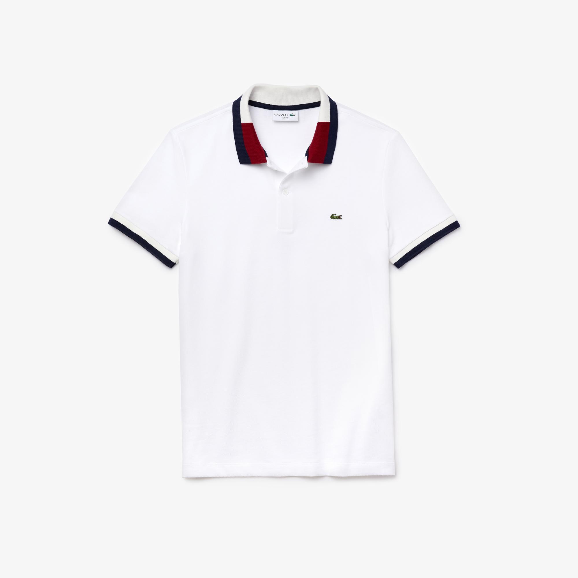Lacoste Erkek Slim Fit Blok Desen Yakalı Beyaz Polo