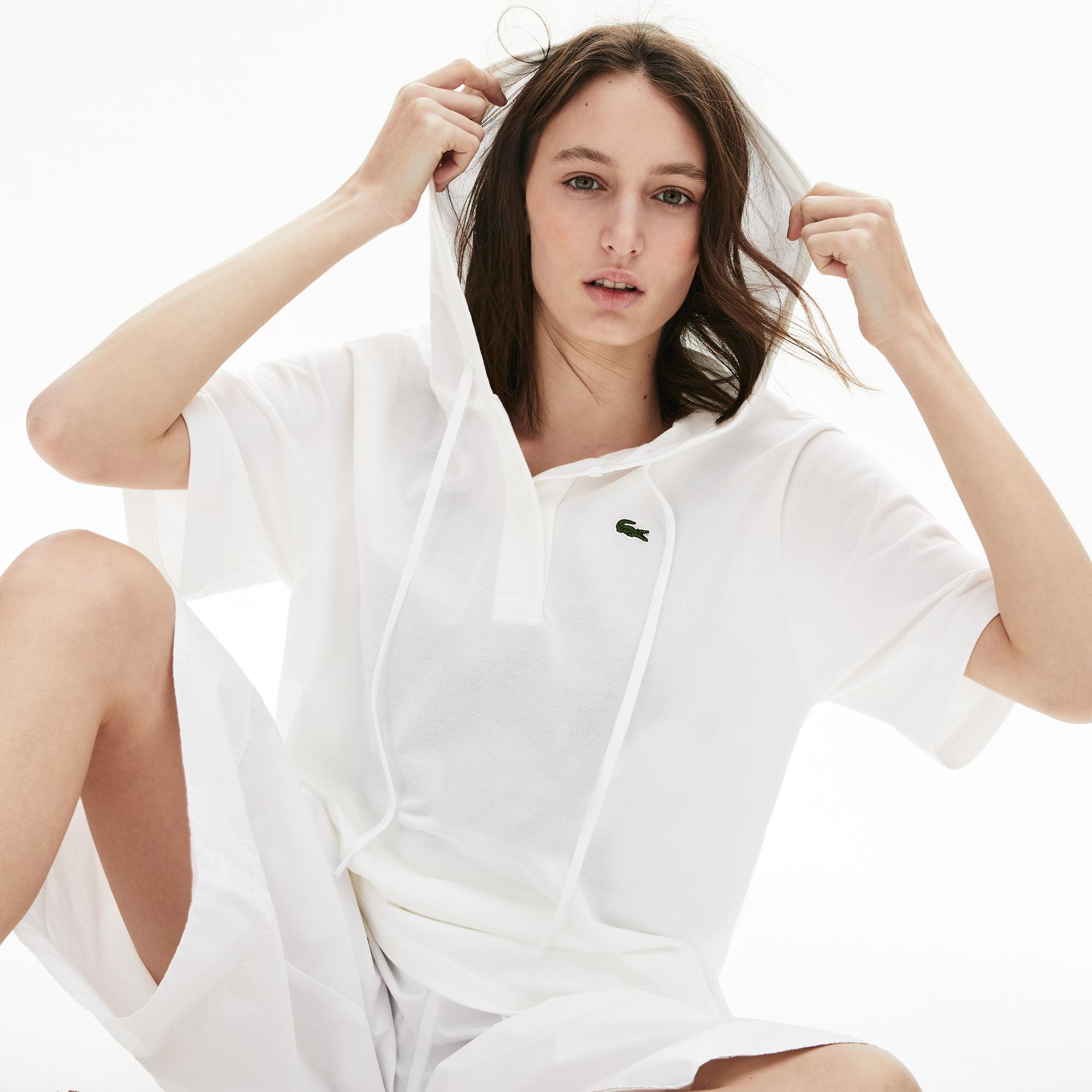 Lacoste Kadın Kapüşonlu Kısa Kollu Beyaz Polo