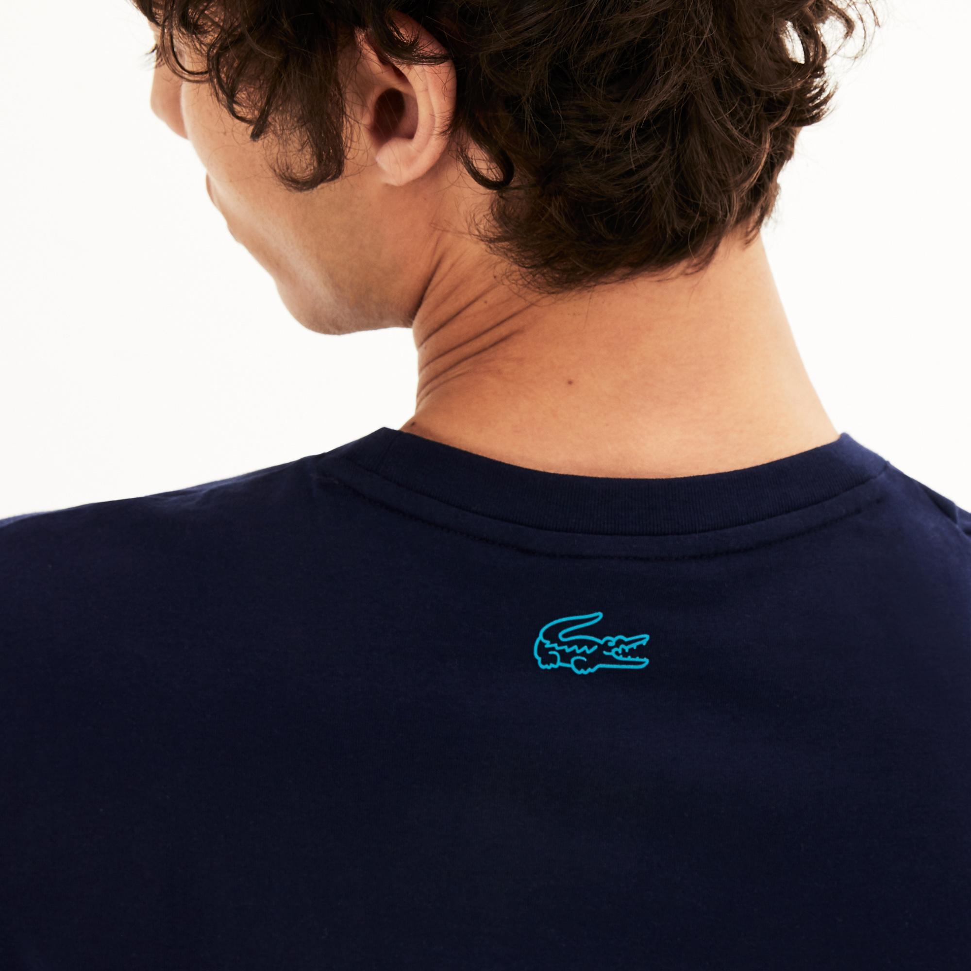 Lacoste Erkek Lacivert Bisiklet Yaka Baskılı T-Shirt