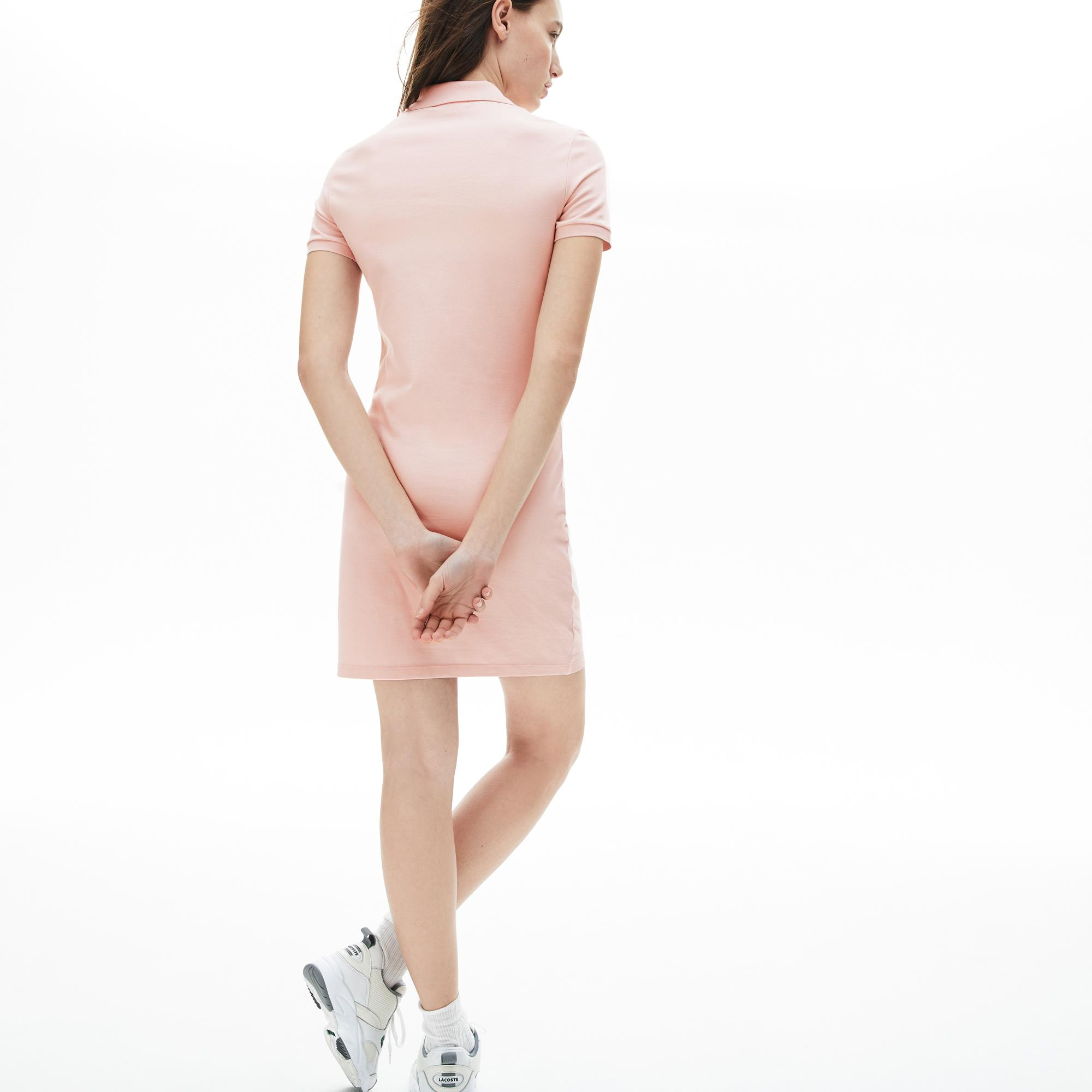 Lacoste Kadın Açık Pembe Polo Yaka Elbise