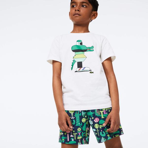 Lacoste X Jeremyville Çocuk Baskılı Renkli Şort Mayo