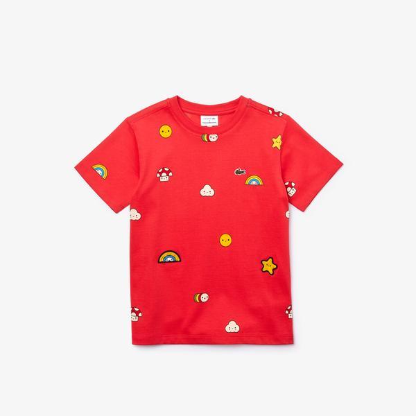 Lacoste X FriendsWithYou Çocuk Bisiklet Yaka Baskılı Pembe T-Shirt