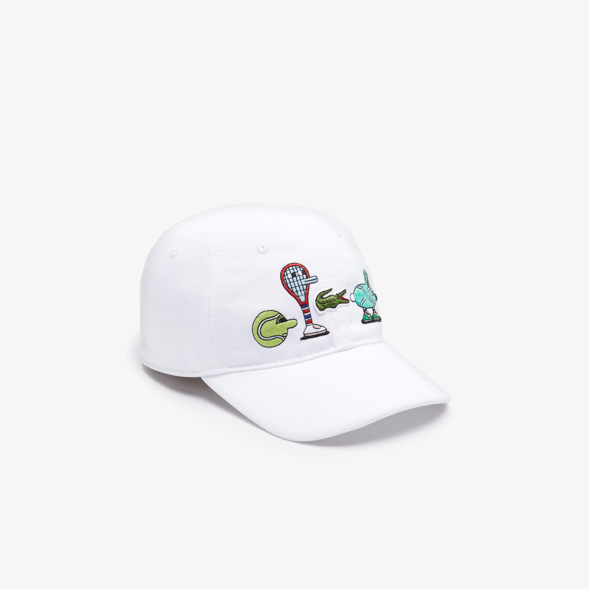 Lacoste X Jeremyville Çocuk Desenli Beyaz Şapka