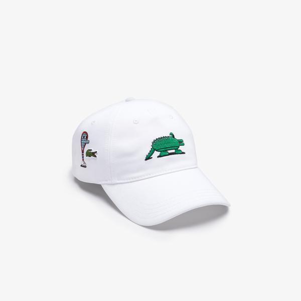 Lacoste X Jeremyville Unisex Desenli Beyaz Şapka