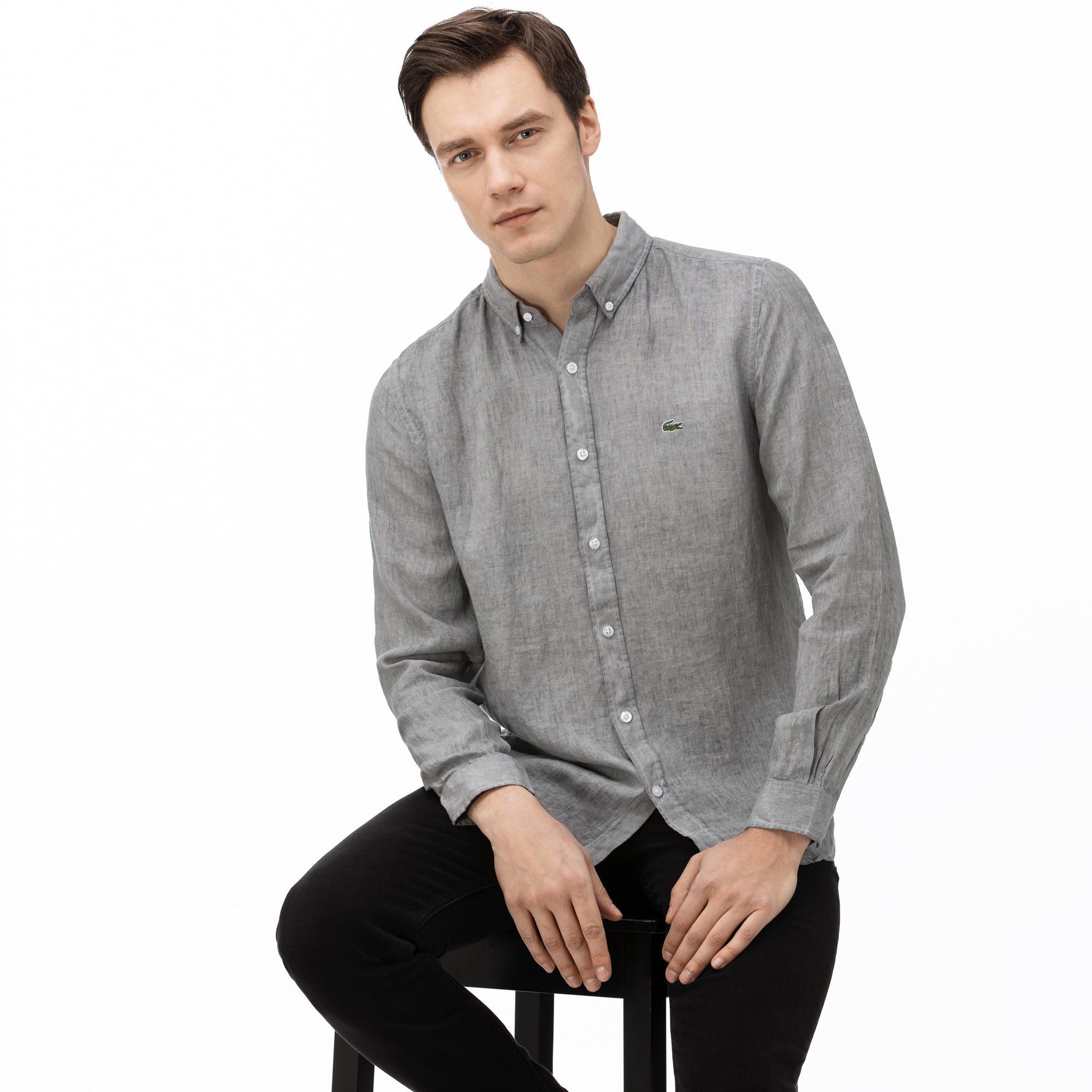 Lacoste Erkek Slim Fit Ekose Desenli Gri Keten Gömlek