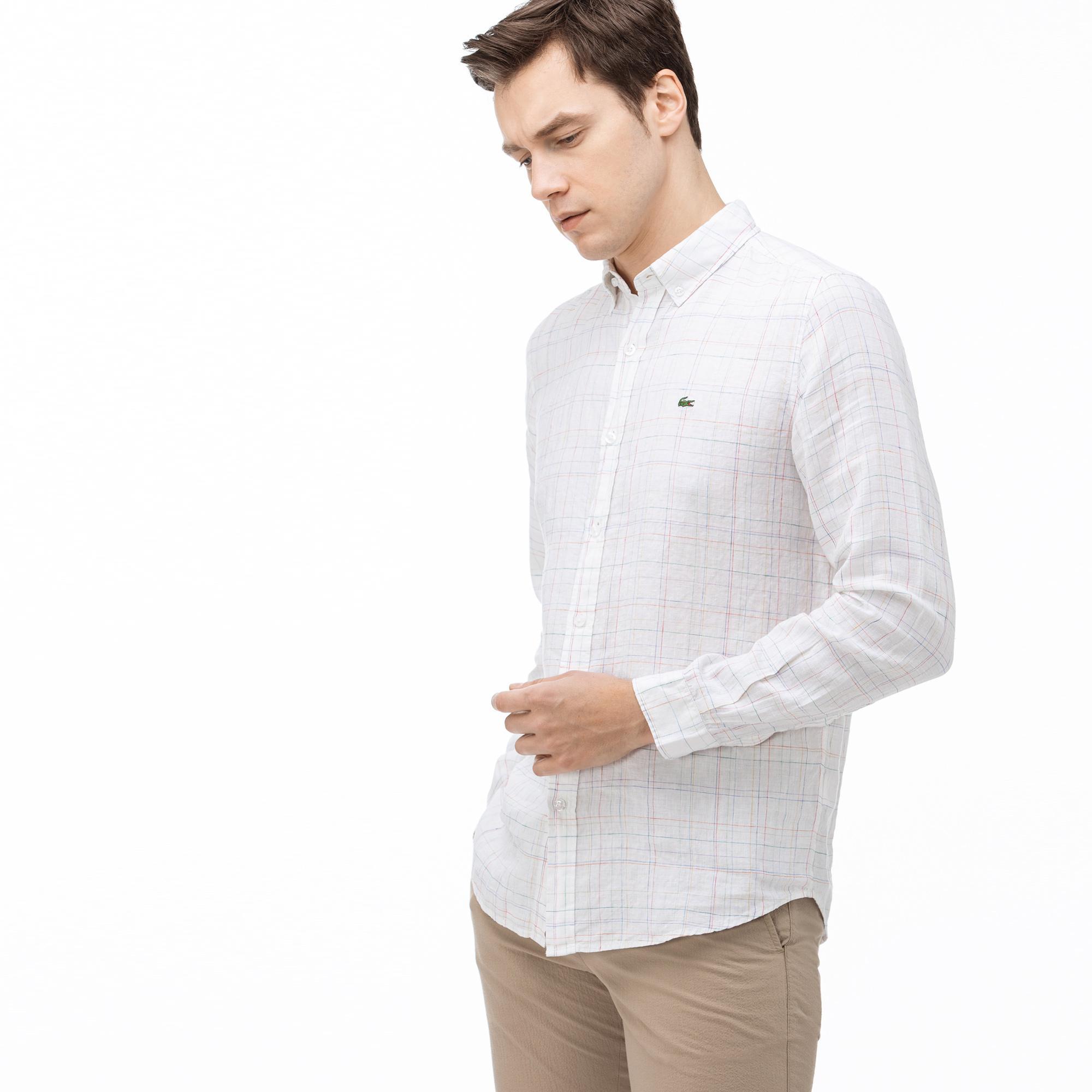 Lacoste Erkek Slim Fit Ekose Desenli Beyaz Keten Gömlek