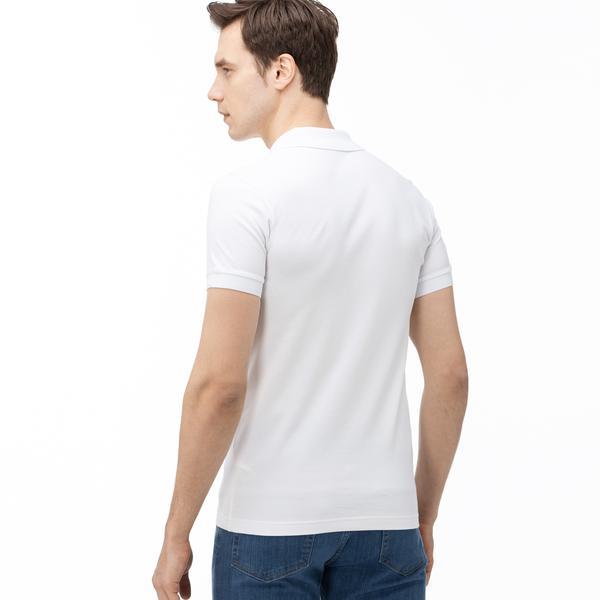 Lacoste Erkek Slim Fit Çizgili Beyaz Polo